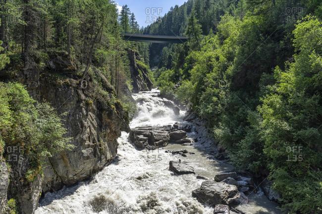 Europe, austria, tyrol, otztal alps, otztal, view of the wild otztaler ache in a narrow gorge in the forest