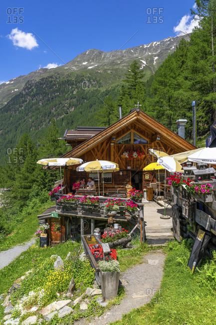 June 28, 2019: europe, austria, tyrol, otztal alps, otztal, snack station sahnestuberl near zwieselstein