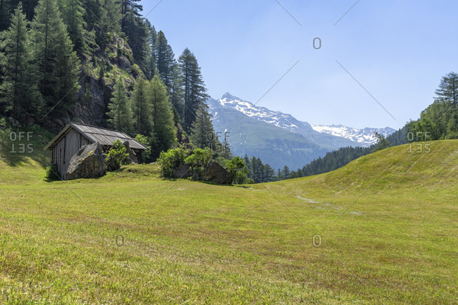 Europe, austria, tyrol, otztal alps, otztal, view over a wide mountain meadow near the gasthof moosalm