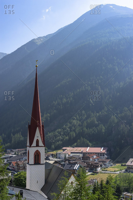 Europe, austria, tyrol, otztal alps, otztal, view of the parish church in solden in the otztal