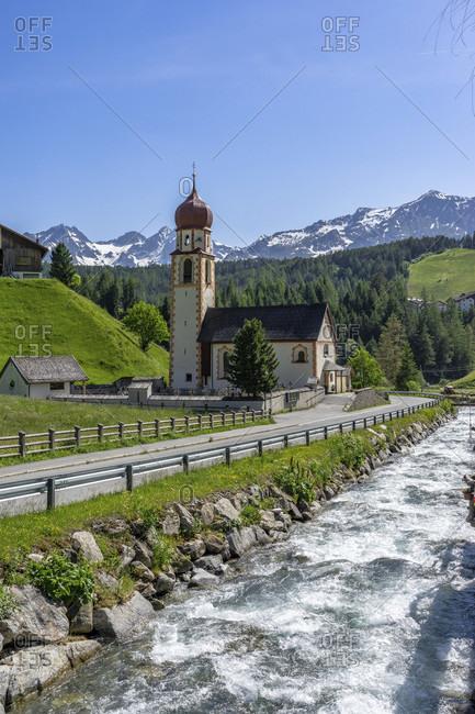 Europe, austria, tyrol, otztal alps, otztal, parish church on horlachbach in the mountain village of niederthai