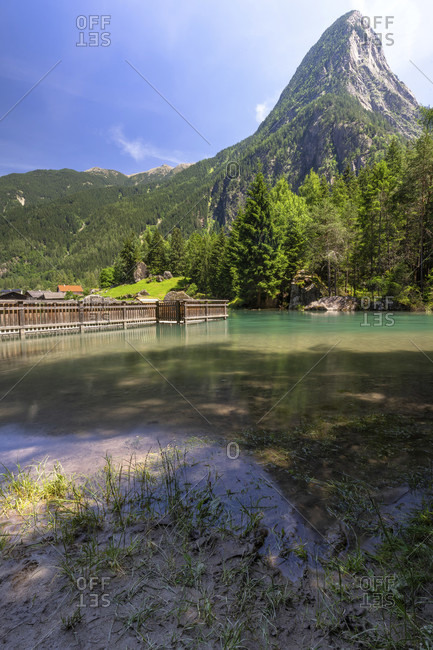 Europe, austria, tyrol, otztal alps, otztal, view of the habicher lake against a mountain backdrop