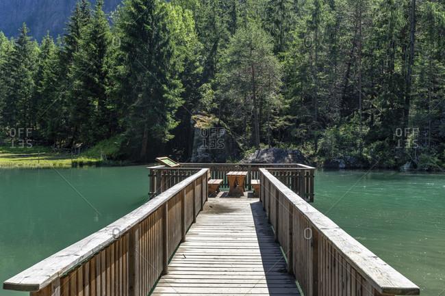 Europe, austria, tyrol, otztal alps, otztal, wooden footbridge at habicher see near habichen