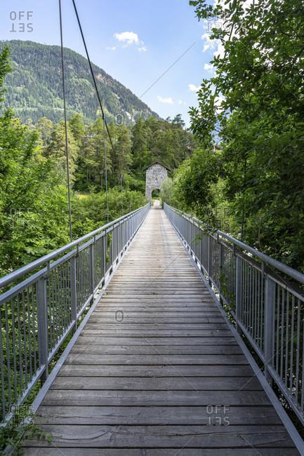 Europe, austria, tyrol, otztal alps, otztal, bridge over the inn at otztal bahnhof