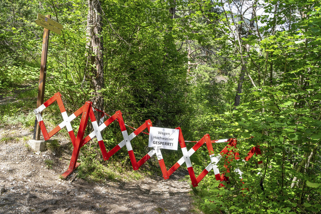 Europe, austria, tyrol, otztal alps, otztal, barrier of a hiking trail due to flooding