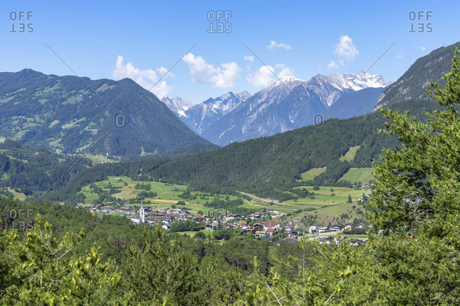 Europe, austria, tyrol, otztal alps, otztal, view of roppen in the inntal and the surrounding mountains