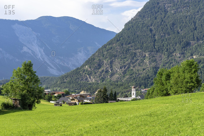 Europe, austria, tyrol, otztal alps, otztal, view of sautens in the otztal