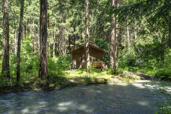 Europe, austria, tyrol, otztal alps, otztal, small wooden hut in the mountain forest between tumpen and habichen in the otztal