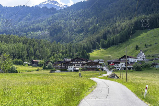 June 17, 2019: europe, austria, tyrol, otztal alps, otztal, view of the village of kofels in the otztal