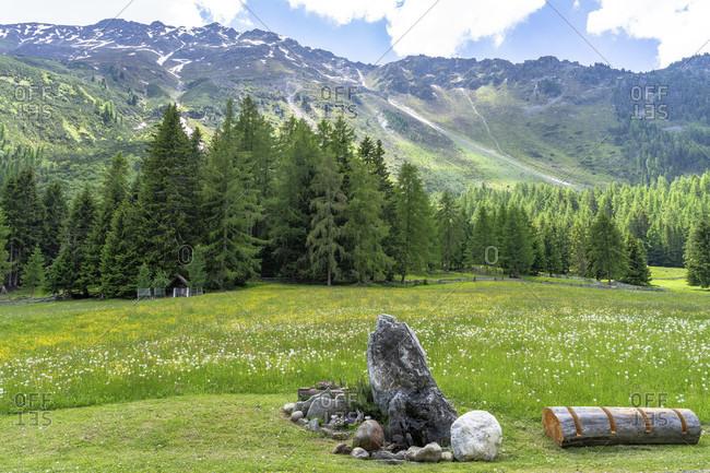 Europe, austria, tyrol, otztal alps, otztal, view from the wurzbergalm to the opposite mountains