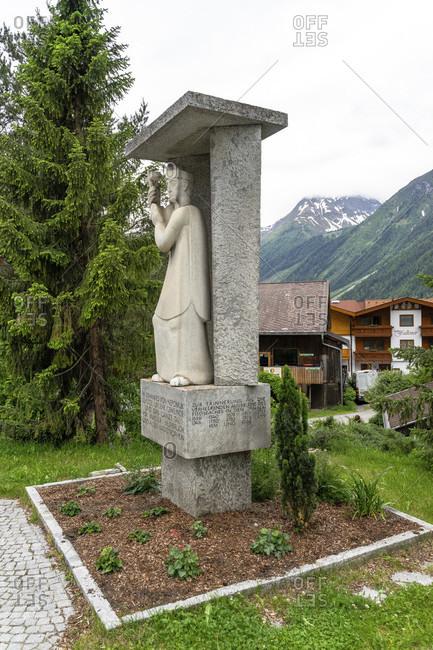 June 20, 2016: europe, austria, tyrol, otztal alps, otztal, monument in the center of längenfeld