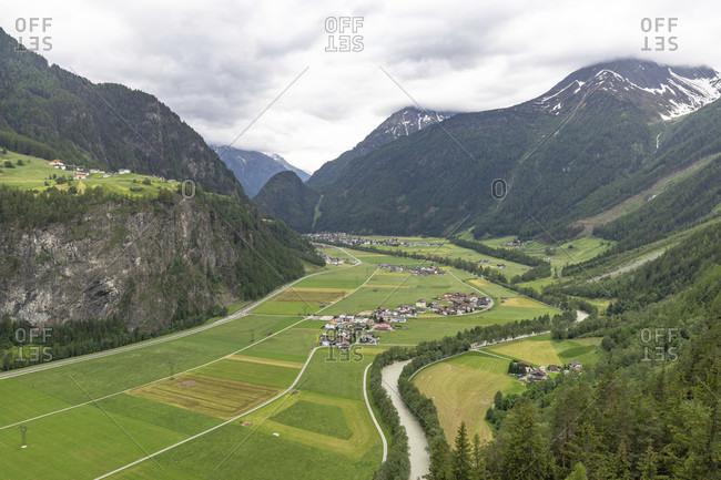 Europe, austria, tyrol, otztal alps, otztal, view from the teufelskanzel over the otztal valley floor