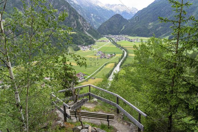 Europe, austria, tyrol, otztal alps, otztal, viewpoint bärenfalle with a view of the otztal and huben