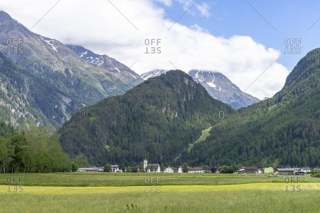 Europe, austria, tyrol, otztal alps, otztal, view of huben in the otztal
