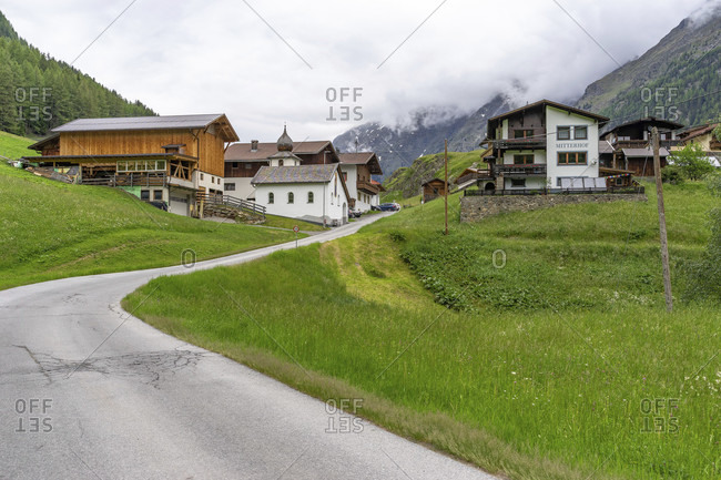 June 16, 2019: europe, austria, tyrol, otztal alps, otztal, village of granstein in the otztal