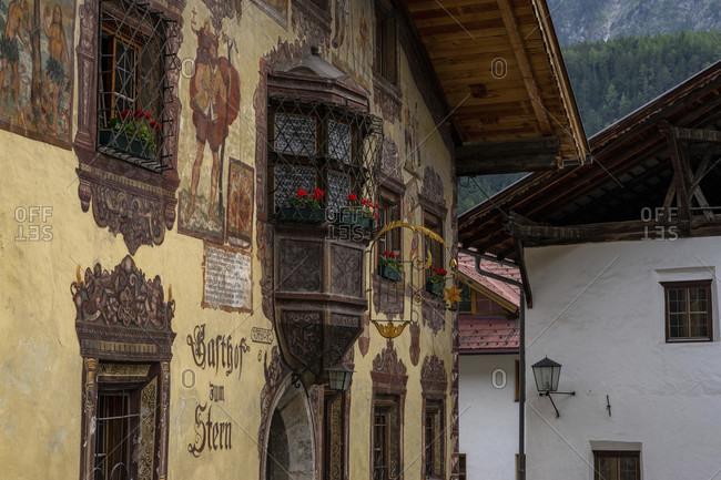 June 15, 2019: europe, austria, tyrol, otztal alps, otztal, historischer gasthof stern in oetz in the otztal