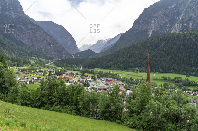 Europe, austria, tyrol, otztal alps, otztal, view of the otztal with the village of oetz in the foreground