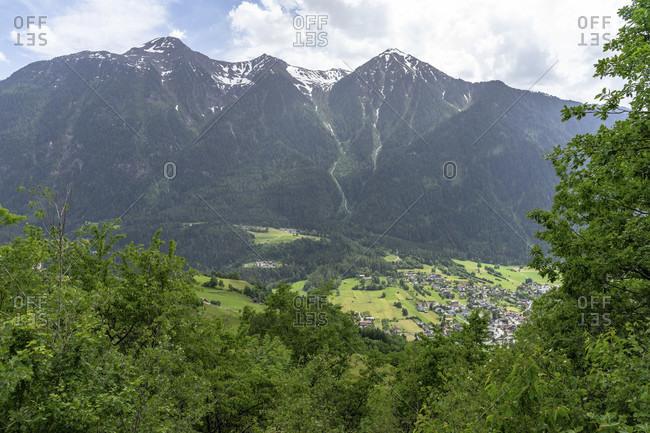 Europe, austria, tyrol, otztal alps, otztal, view of sautens in the otztal and the surrounding mountains