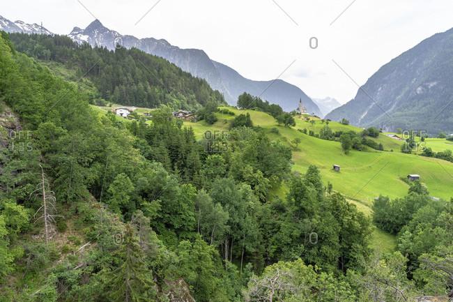 Europe, austria, tyrol, otztal alps, otztal, view into the otztal with the chapel at oetzerau
