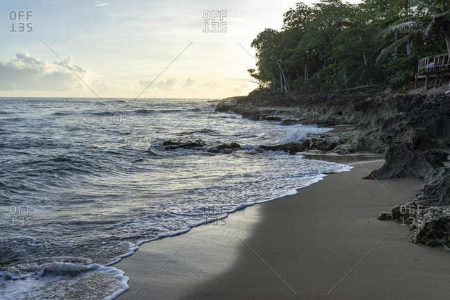 America, caribbean, greater antilles, dominican republic, cabarete, morning mood on the beach of the natura cabana boutique hotel & spa