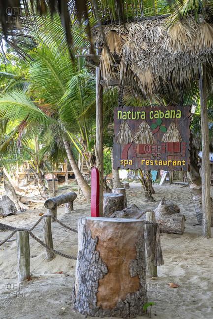 America, caribbean, greater antilles, dominican republic, cabarete, beach restaurant at the natura cabana boutique hotel & spa