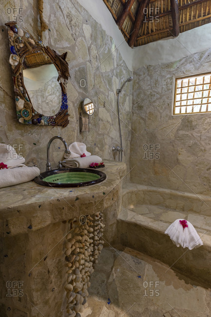 America, caribbean, greater antilles, dominican republic, cabarete, bathroom in the natura cabana boutique hotel & spa,