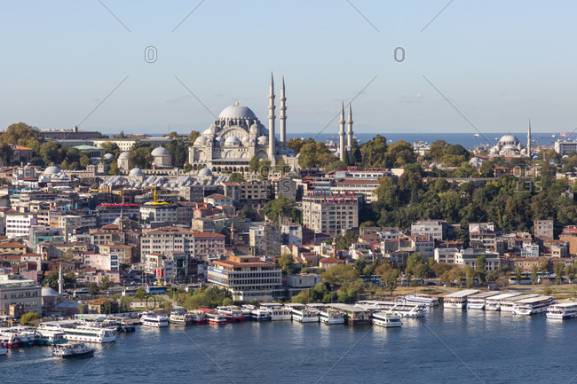 September 22, 2019: view from the galata tower over the golden horn towards the old town of istanbul, turkey
