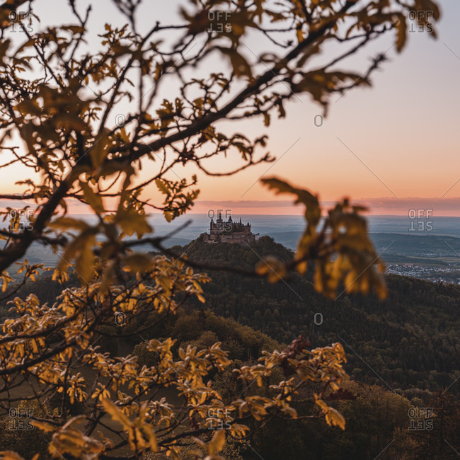 Zellerhorn, Zellerhornwiese, Hohenzollern Castle, sunset, Bisingen, Swabian Jura, Baden-Wurttemberg, Germany, Europe