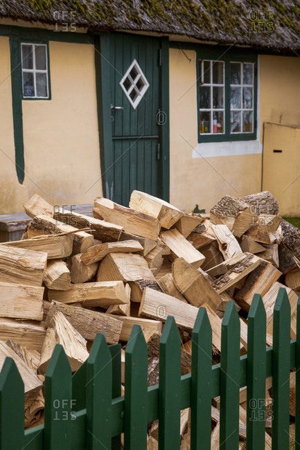 Wood, firewood, pile, stock, house, fence