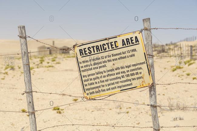 Warning sign, no entry, restricted area, NAMDEB, Namibia. Kolmanskop ghost town, Kolmanskop