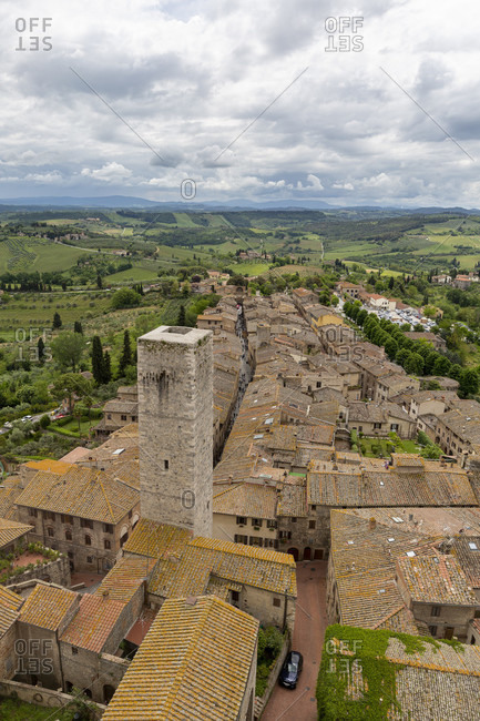 View of San Gimignano from the tallest tower, Torre Grossa. San Gimignano is a small Italian town in Tuscany with a medieval town center.