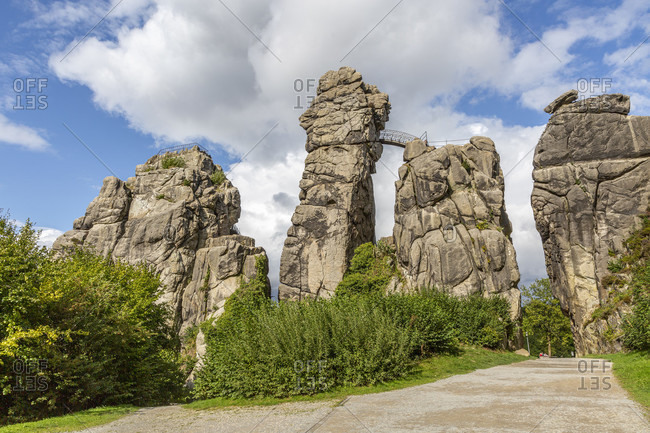 The Externsteine are a striking sandstone rock formation in the Teutoburg Forest and as such an outstanding natural attraction in Germany, which is under natural and cultural heritage protection.