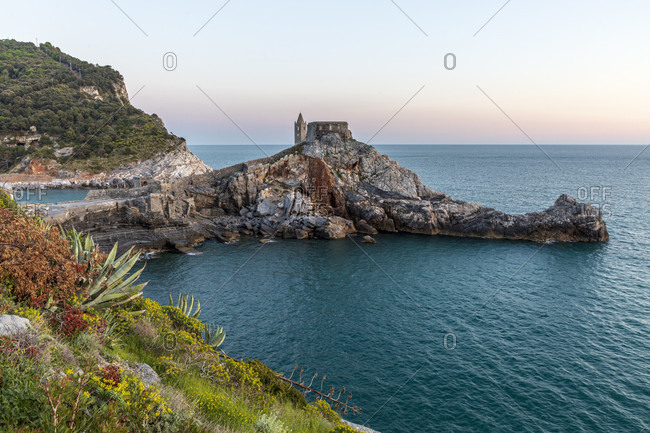 Sunset over ruins near the San Pietro church, Porto Venere, Liguria, Italy