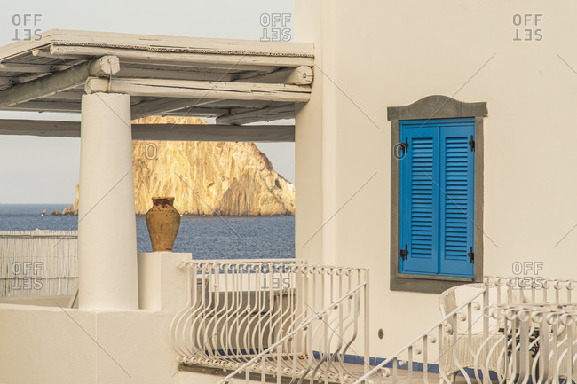 Sicily - Sunny impressions of the Aeolian Islands, View of Lisca Bianca over a roof terrace on Panarea.