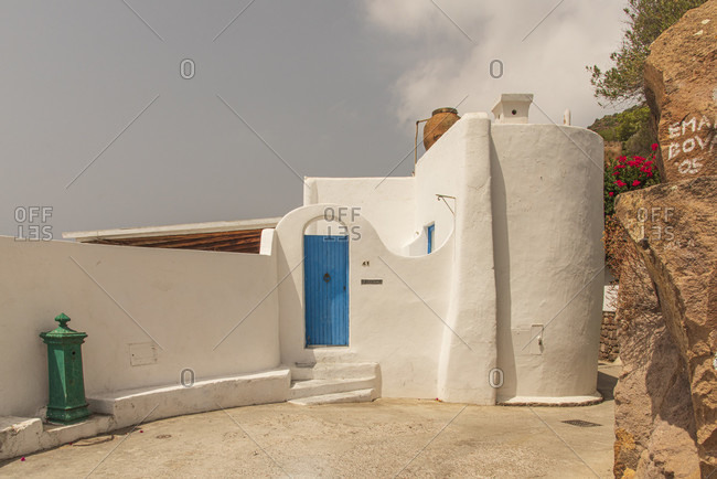 Sicily - Sunny impressions of the Aeolian Islands, Typical white house facade on Panarea.