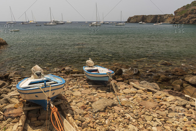 Sicily - Sunny impressions of the Aeolian Islands, Two fishing boats in Zimmari Bay, Panarea.