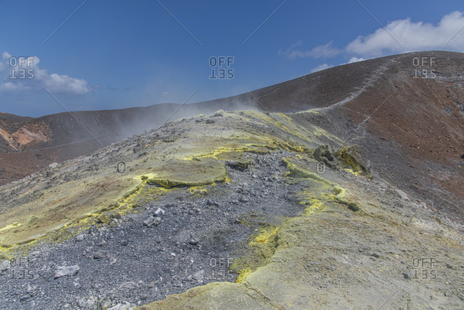 Sicily - Sunny impressions of the Aeolian Islands, Fumarole on the Gran Cratere volcano, Vulcano Island.