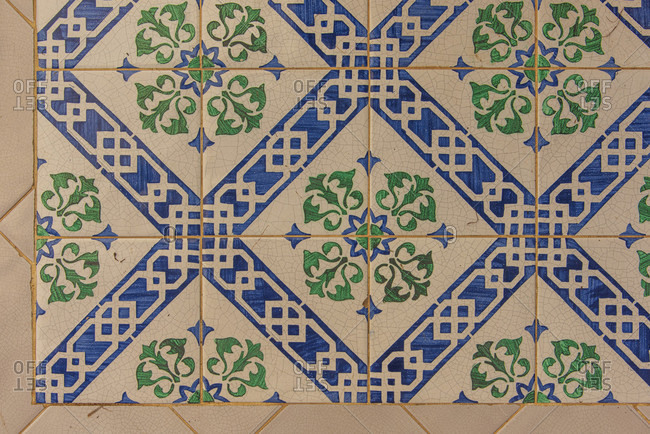 Sicily - Sunny impressions of the Aeolian Islands, Ceramic tiles in a courtyard, Panarea.