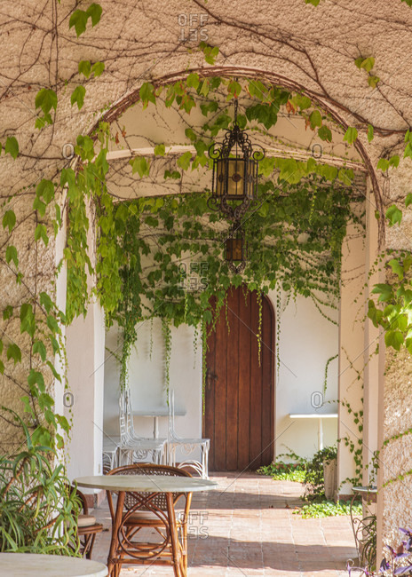 Sicily - Sunny impressions of the Aeolian Islands, Arcades overgrown with vines; Hotel garden on Lipari.