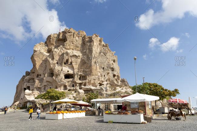 September 26, 2019: Castle rocks and the place Uchisar, Cappadocia, Anatolia, Turkey