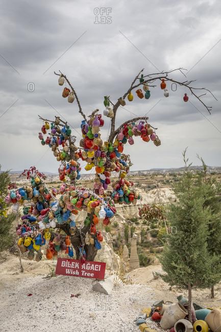 September 25, 2019: Wishing tree, Goreme, Cappadocia, Anatolia, Turkey