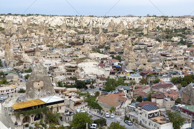 September 25, 2019: Goreme lies embedded in an eroded landscape, Cappadocia, Anatolia, Turkey