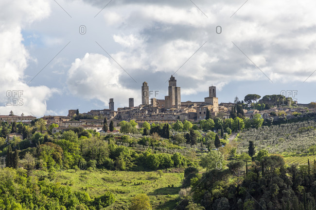 "San Gimignano is a small Italian town in Tuscany with a medieval town center. San Gimignano is also called ""Medieval Manhattan"" or the ""City of Towers""."
