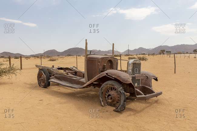 October 17, 2019: Car wreck in the Namib Desert, Solitaire, Namibia