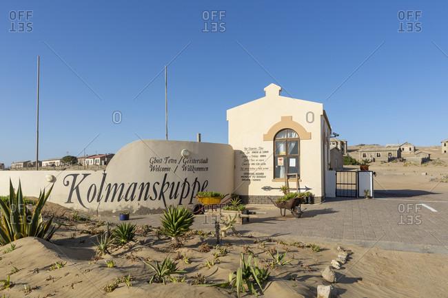 October 13, 2019: Entrance to Kolmanskop ghost town, Kolmanskop