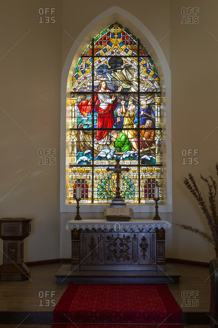 October 12, 2019: The stained glass window was donated by Kaiser Wilhelm II, Felsenkirche, Luderitz