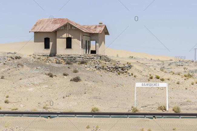 October 12, 2019: Abandoned Grasplatz train station, Namibia