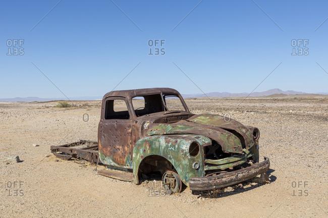 October 11, 2019: Car wreck in the desert, Namibia