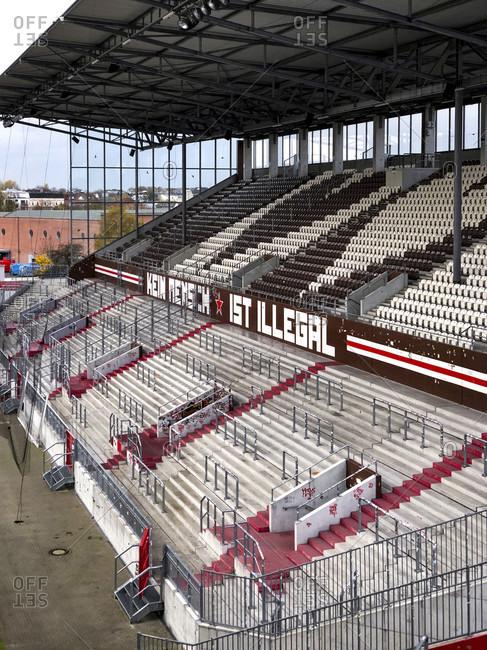 November 12, 2019: Football stadium, abandoned, Hamburg, St. Pauli