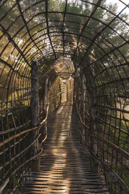 Northern Thailand, temple complex, bamboo bridge